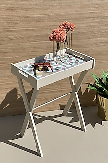 Teal Lotus Butler Tray Table by Mason Homes
