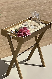 Gold Monochromatic Butler Tray Table by Mason Homes