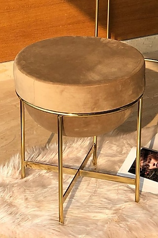Beige Steel & Velvet Pouf by Mason Home