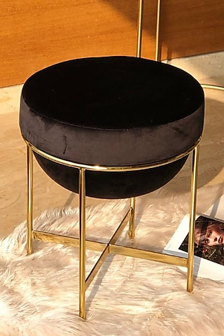 Black Steel & Velvet Pouf by Mason Home