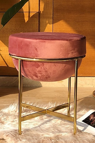 Blush Pink Steel & Velvet Pouf by Mason Home