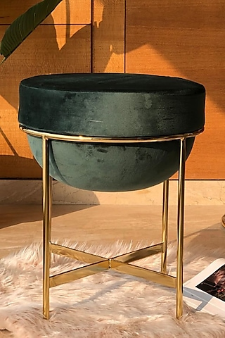 Emerald Green Steel & Velvet Pouf by Mason Home