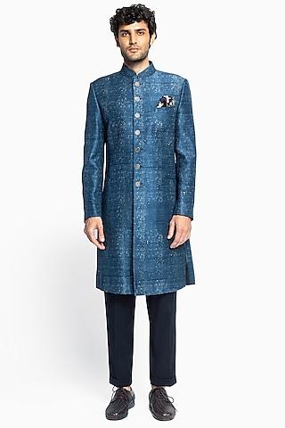 Indigo Blue Printed Achkan Jacket Set by Divyam Mehta Men