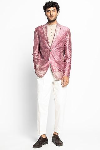 Pink & White Printed Jacket Set by Divyam Mehta Men
