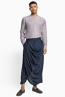Midnight Blue Draped Dhoti Pants by Divyam Mehta Men