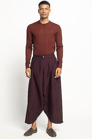 Black Silk Dhoti Pants by Divyam Mehta Men