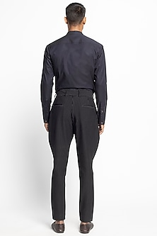 Black Striped Jodhpuri Trousers by Divyam Mehta Men