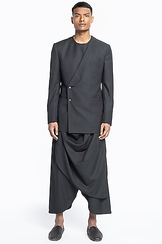 Grey Wrapped Jacket Set by Divyam Mehta Men