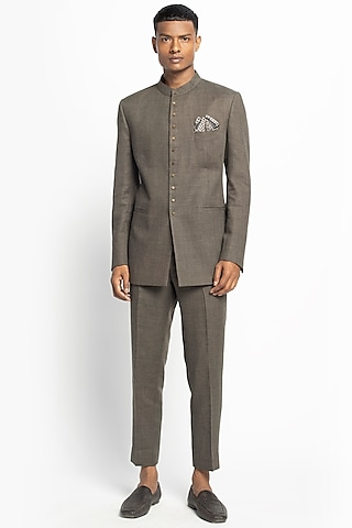 Brown Woolen Bandhgala Jacket Set by Divyam Mehta Men