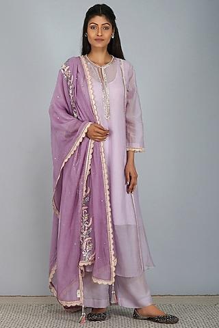 Purple Embroidered Kurta Set by Devyani Mehrotra
