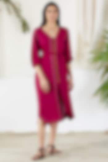 Fuchsia Belted Shirt Dress by Devyani Mehrotra