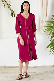 Fuchsia Belted Shirt Dress by Devyani Mehrotra-DEVYANI MEHROTRA