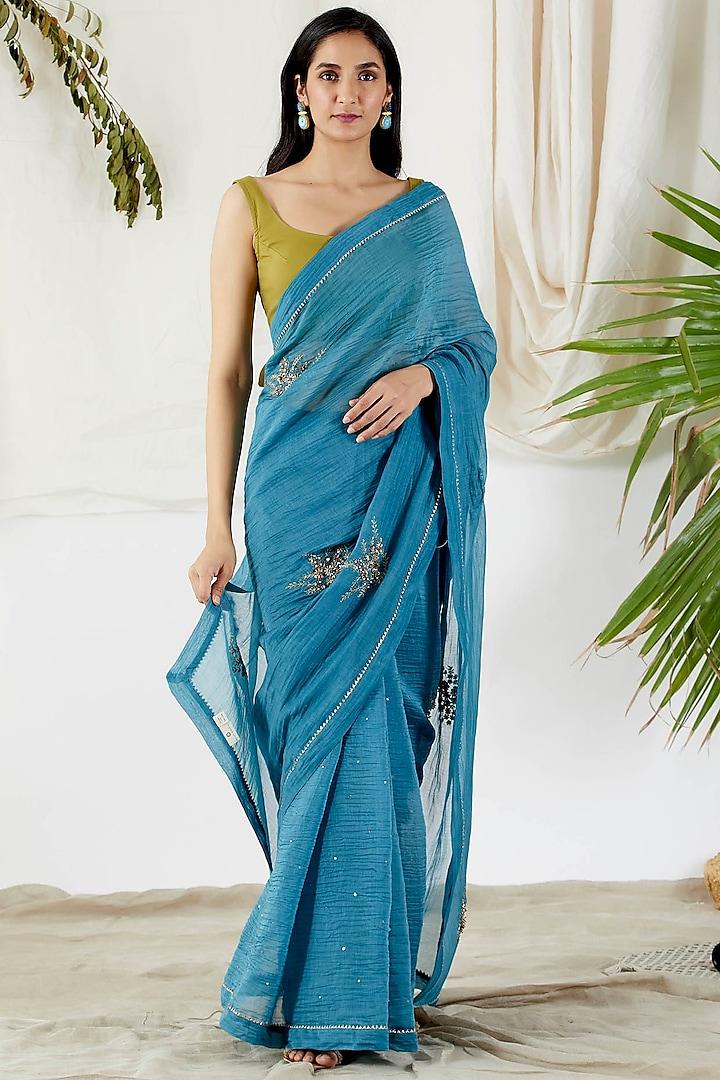 Cobalt Blue Embroidered Saree Set by Devyani Mehrotra