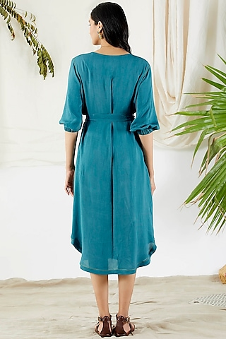 Cobalt Blue Shirt Dress by Devyani Mehrotra