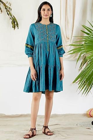 Cobalt Blue Dress With Cutwork by Devyani Mehrotra