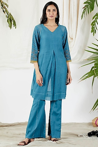 Cobalt Blue Embroidered Tunic Set by Devyani Mehrotra