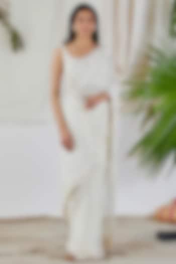 White Embroidered Saree Set by Devyani Mehrotra