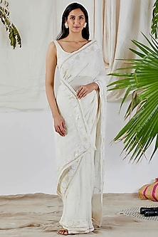 White Embroidered Saree Set by Devyani Mehrotra