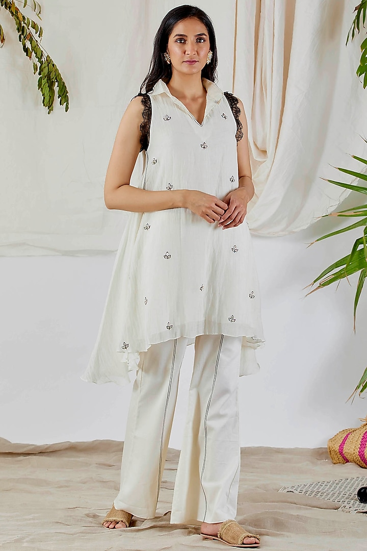 White Embroidered Tunic Set by Devyani Mehrotra