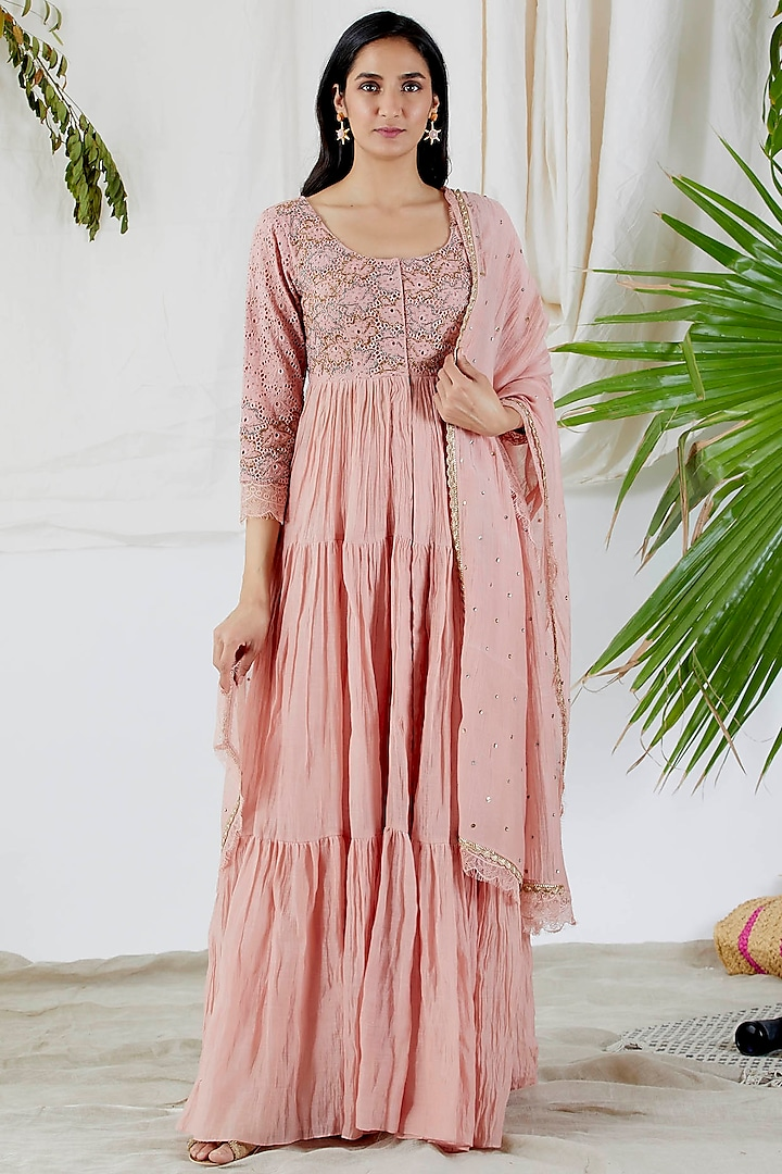 Blush Pink Embroidered Anarkali Set by Devyani Mehrotra