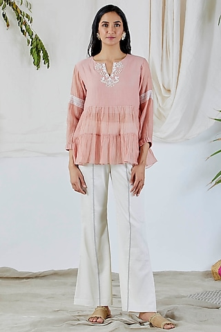 Blush Pink Embroidered Top by Devyani Mehrotra