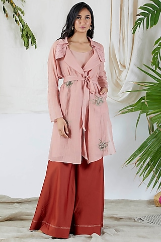 Blush Pink Embroidered Gharara Set by Devyani Mehrotra