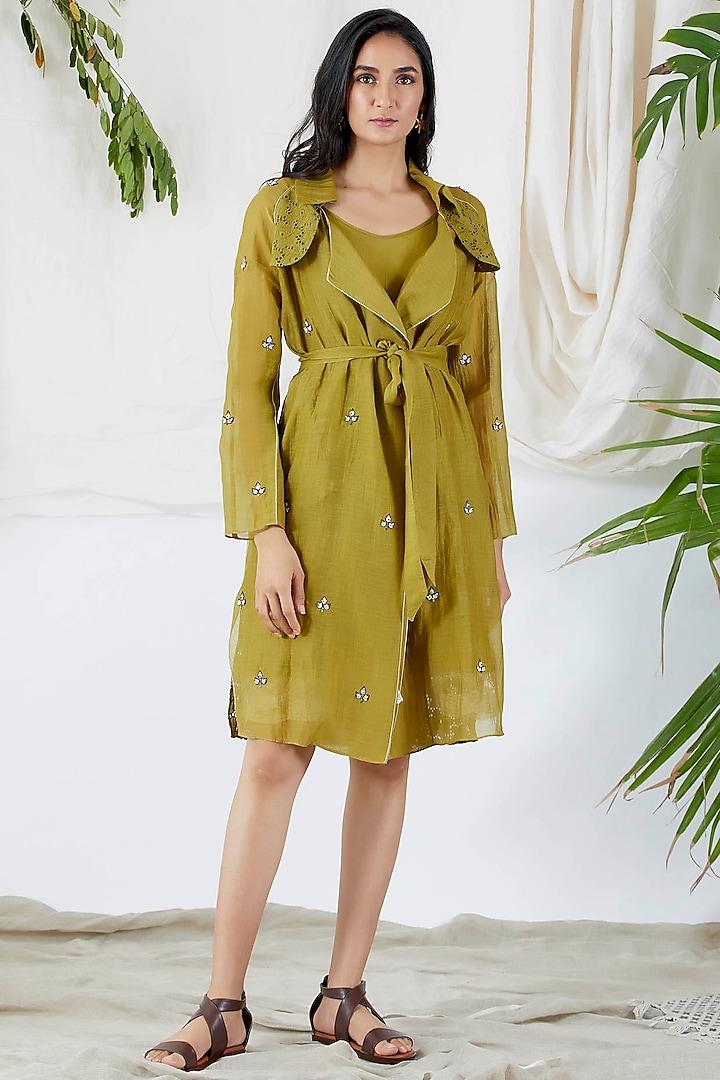 Mehendi Green Trench Coat With Dress by Devyani Mehrotra