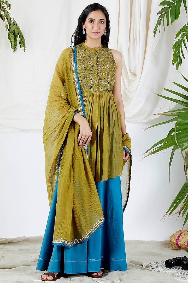Mehendi Green Embroidered Gharara Set by Devyani Mehrotra