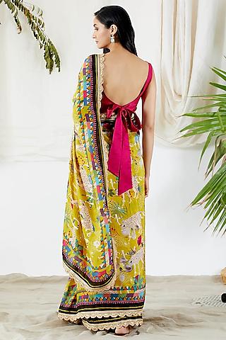 Yellow Printed Saree Set by Devyani Mehrotra
