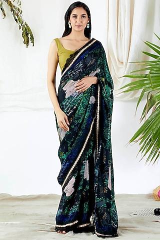 Emerald Green Printed Saree Set by Devyani Mehrotra