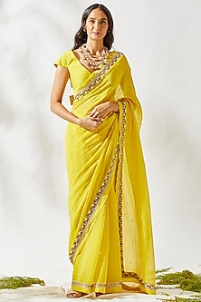 Yellow Embroidered Saree Set by Devyani Mehrotra