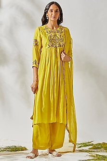 Yellow Embroidered Anarkali Set by Devyani Mehrotra
