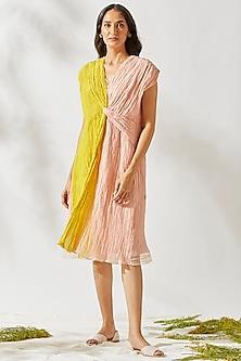 Blush Pink Chanderi Dress by Devyani Mehrotra