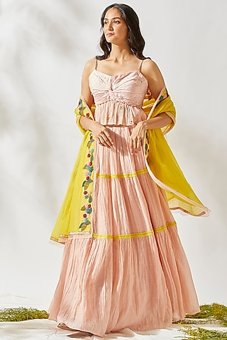 Blush Pink Embroidered & Tiered Lehenga Set by Devyani Mehrotra