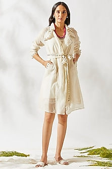 Ivory Boho Jacket Dress by Devyani Mehrotra
