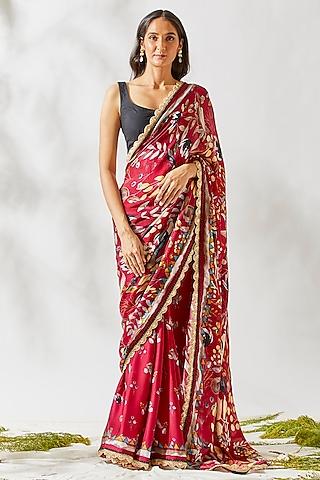 Wine Printed & Embroidered Saree Set by Devyani Mehrotra