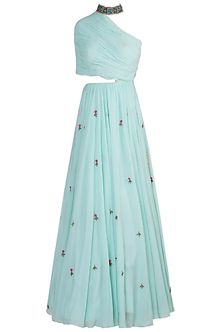 Mint one shoulder gown by DINESH MALKANI