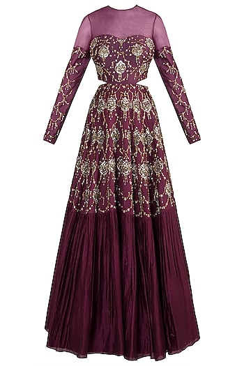 Wine embroidered gown by DINESH MALKANI