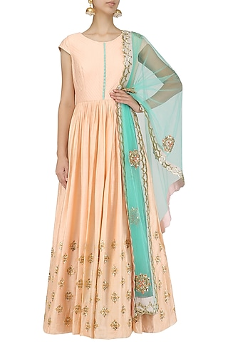 Peach Sequins Embroidered Anarkali Set by Dinesh Malkani
