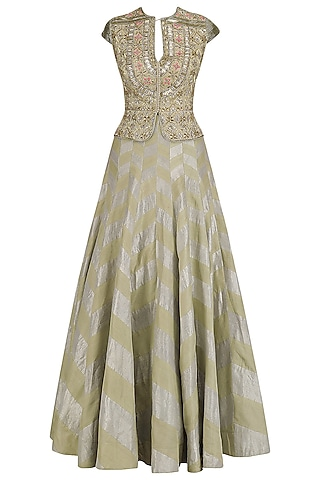 Gold Embroidered Peplum Jacket and Skirt Set by Dinesh Malkani