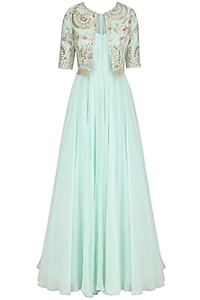 Ice Blue Anarkali and Embroidered Jacket by Dinesh Malkani