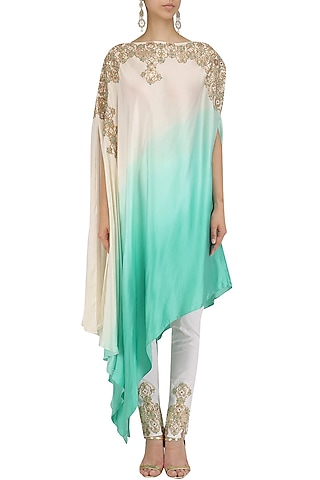 White and Blue One Shoulder Kaftan and Pants Set by Dinesh Malkani