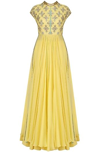 Yellow Sequins Embroidered Kalidaar Anarkali and Pants Set by Dinesh Malkani