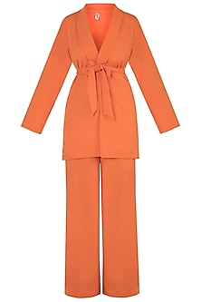 Orange Blazer Jacket With Belt & Pants by Deme by Gabriella