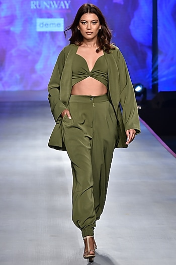 Olive Green Crossover Crop Top with Blazer & Pants by Deme by Gabriella
