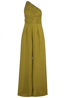 Olive Green One Shouldered Jumpsuit by Deme by Gabriella