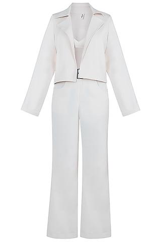 Beige Crop Top With Blazer, Pants & Belt by Deme by Gabriella