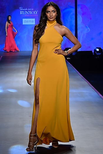 Mustard Backless Tassel Gown by Deme by Gabriella