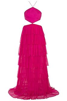 Fuschia Pink Backless Ruffled Gown by Deme by Gabriella