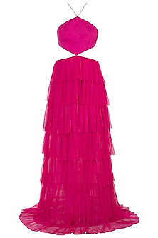 Fuschia Pink Backless Ruffled Gown by Deme by Gabriella